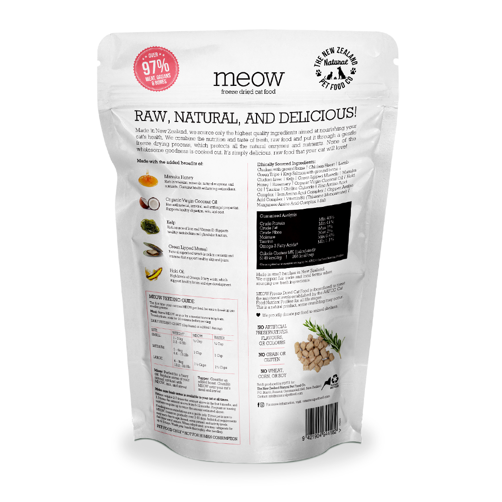 MEOW Chicken & King Salmon Grain-Free Freeze Dried Raw Cat Food
