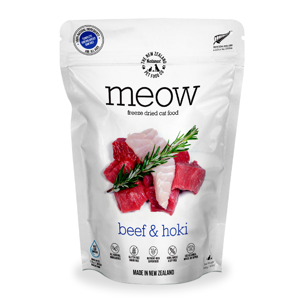 MEOW Beef & Hoki Grain-Free Freeze Dried Raw Cat Food