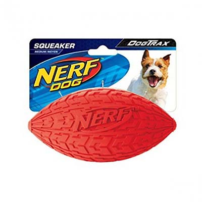 JEPetz- Nerf Dog Tire Squeak Football Red