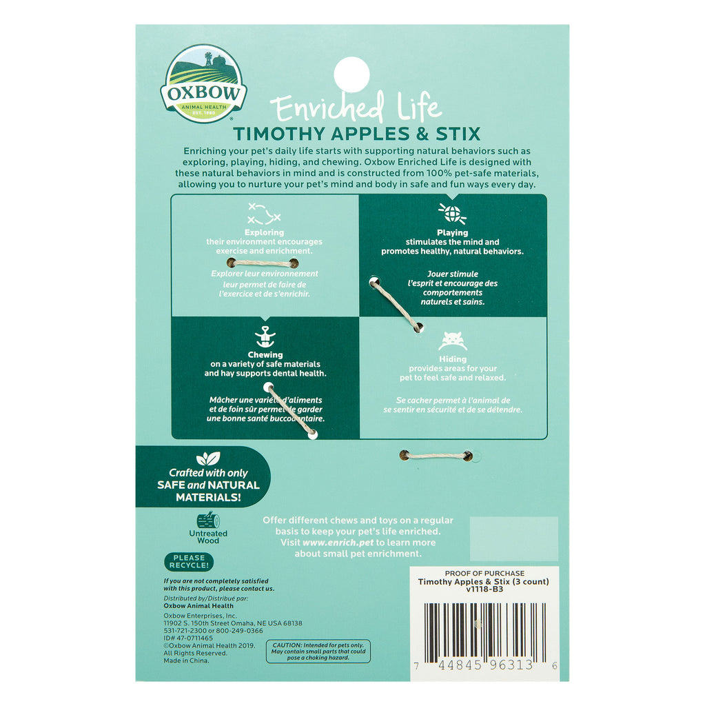 Oxbow Enriched Life Timothy Apple & Stix For Small Animals