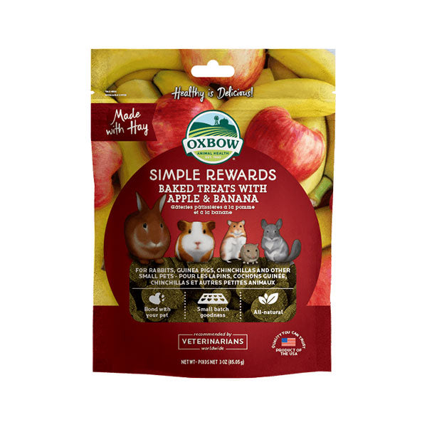 Oxbow Simple Rewards Baked Treats With Apple Banana 3oz