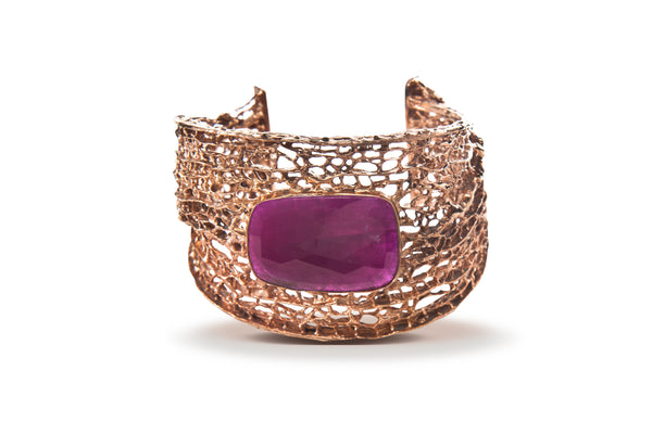 Ruby in Rose Gold Seafan Cuff