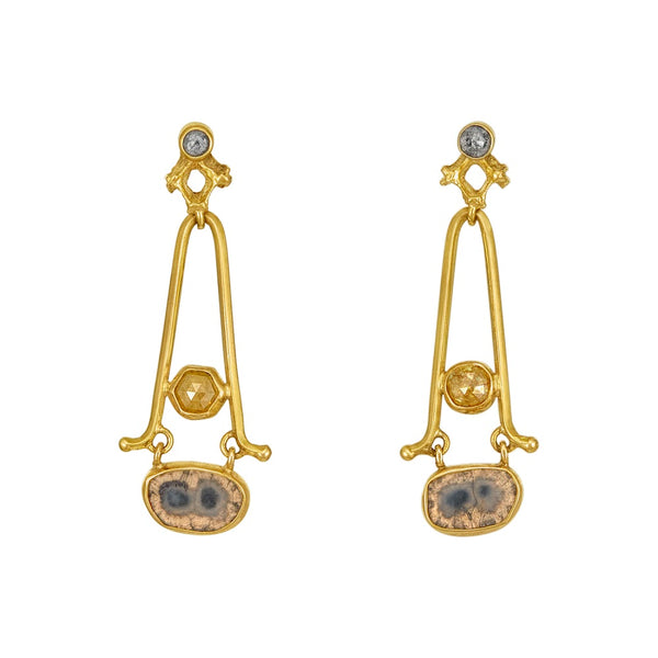Yellow Diamond A-Frame Earrings