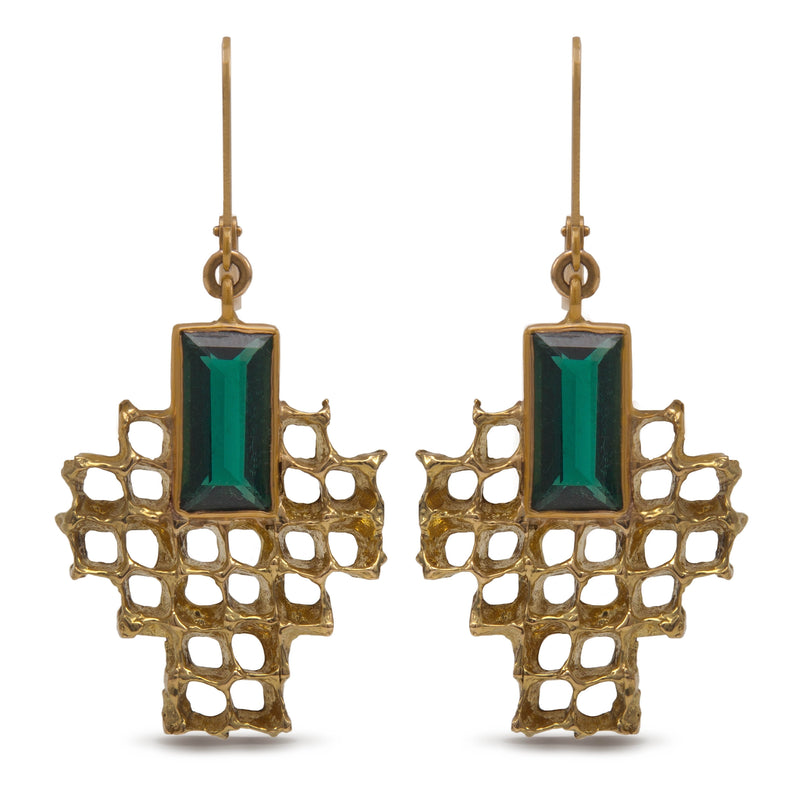 Pinecone and Tourmaline Lever Back Earrings