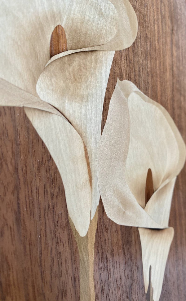 Marquetry: Pair of White Lilies