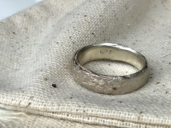 Half Round Silver Band in Sterling Silver