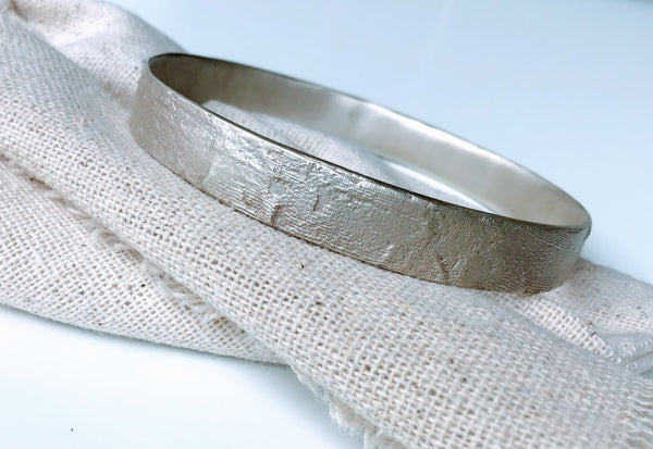 Silk Textured Bangle in Sterling Silver