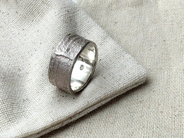 Wide Silk Ring Sterling