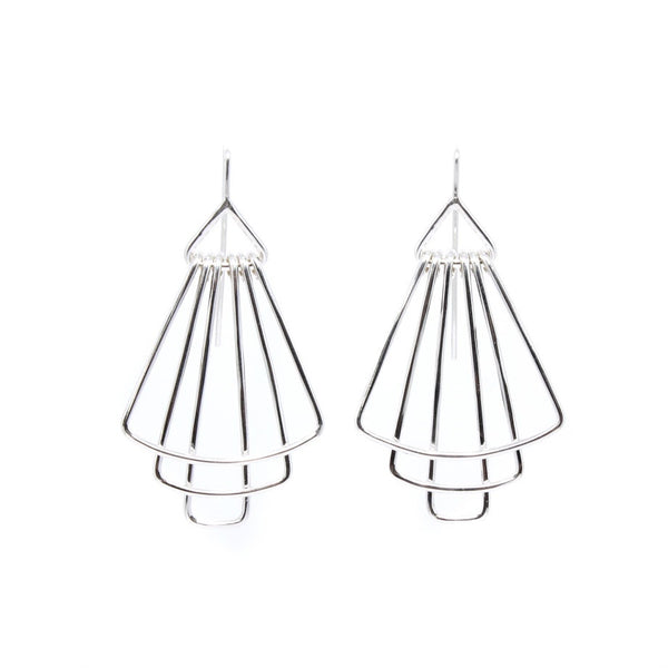 Three Layer Silver Deco Earring