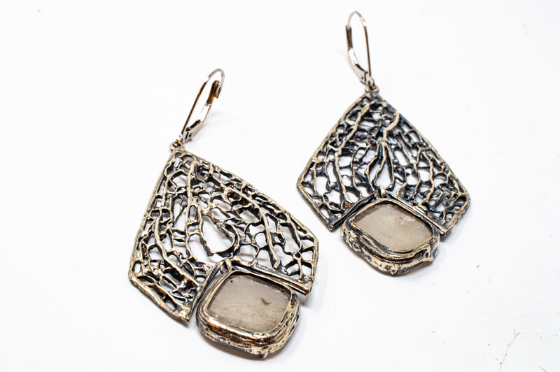 Large Sea Fan Diamond Slice Drop Earrings