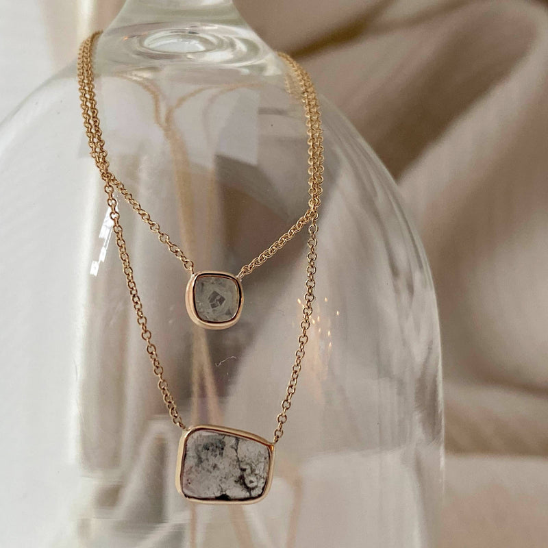 Tiny and Lovely Square Diamond Slice Necklace