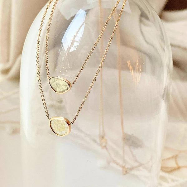 Golden Soft Triangle Diamond Slice Necklace - TOP only