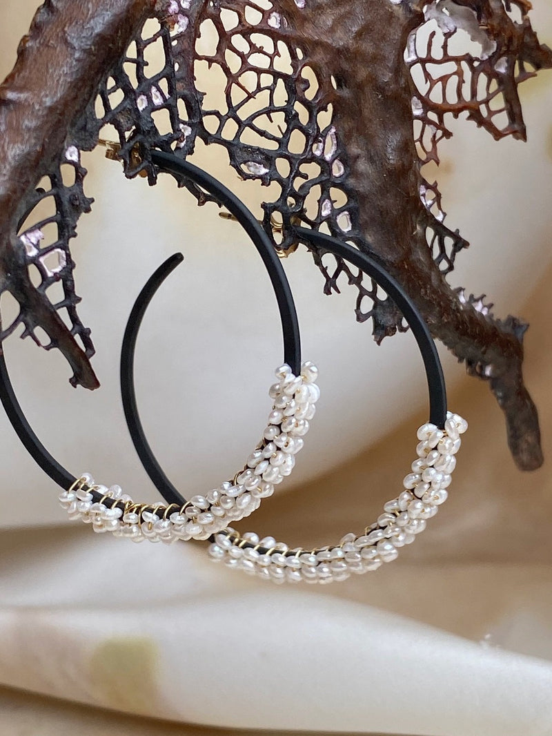Forged Growth Hoops - large, with pearl