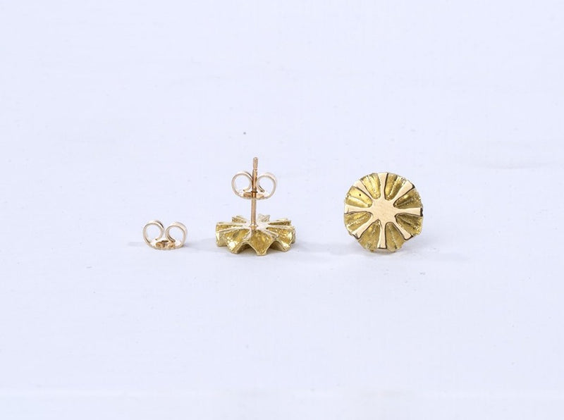 Gold Pinecone Slice Sun Stud Earring