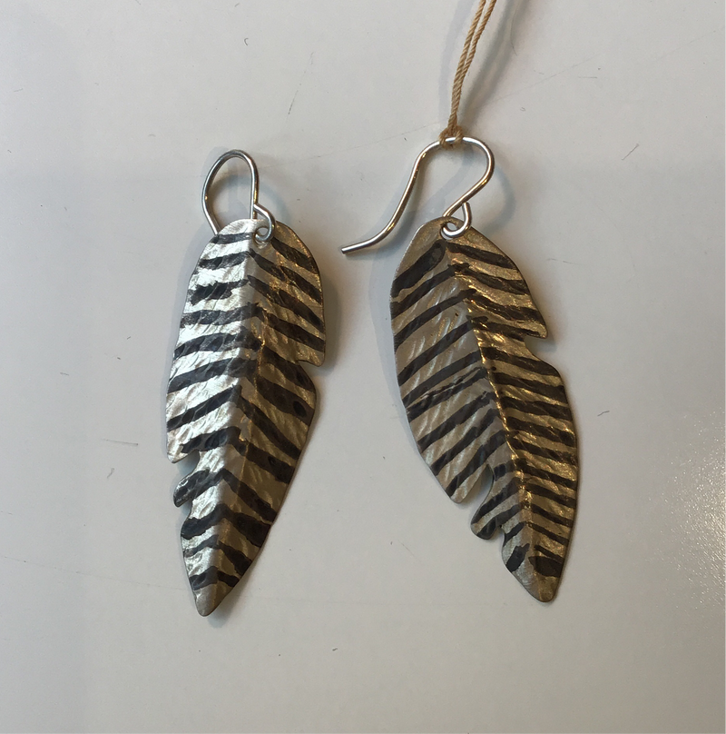 Striped Silver Feather Earrings A