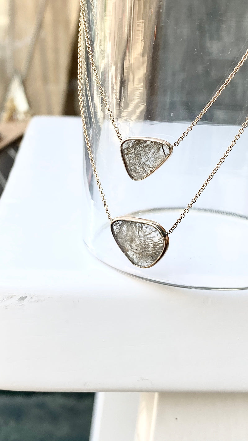One of a Pair!  Moss Diamond Slice Necklace 2/ Bottom Necklace Only