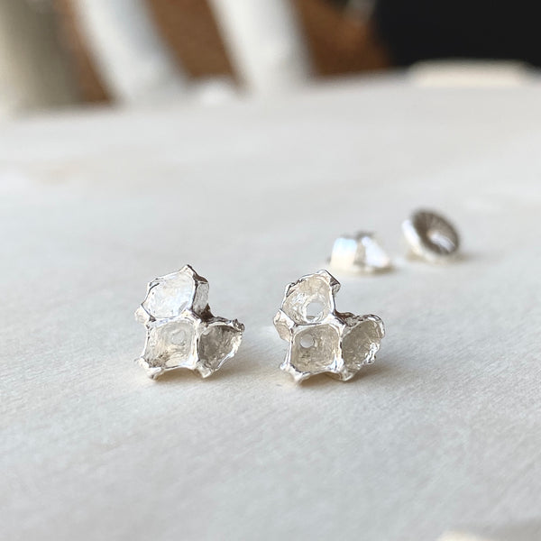 Pinecone Heart Silver Stud Earrings