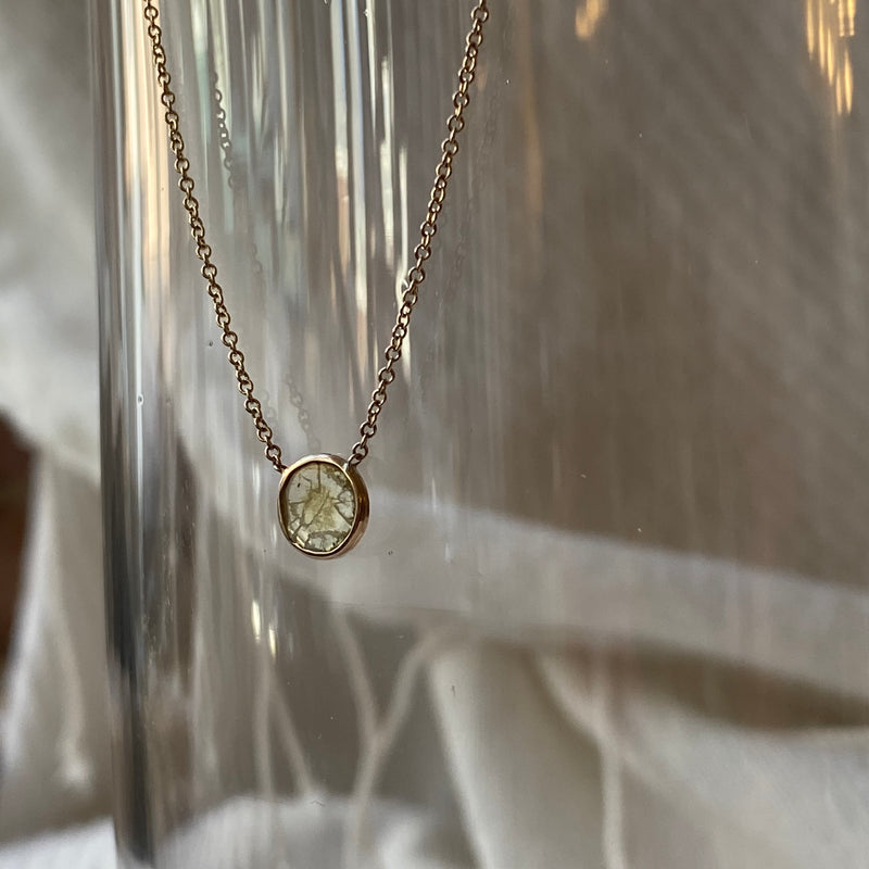 Tiny Drop of Gold Water Diamond Slice Necklace