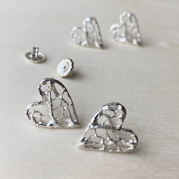 Sea Fan Heart Silver Post Earrings
