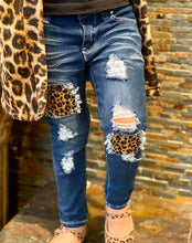 Load image into Gallery viewer, Leopard Print Patched Jeans