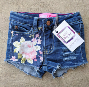 Navy and Blushing Roses Shorts