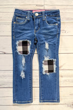 Load image into Gallery viewer, Black/White Buffalo Plaid Jeans