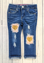 Load image into Gallery viewer, Gold Heart Valentine's Jeans