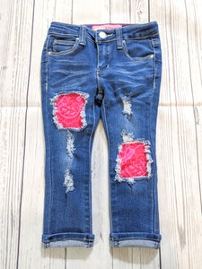 Pink Lace Patched Jeans