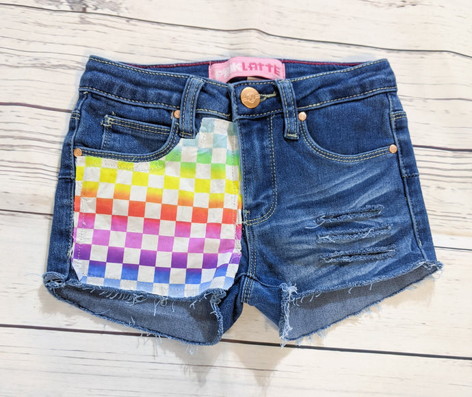 Girls Rainbow Checkers Shorts