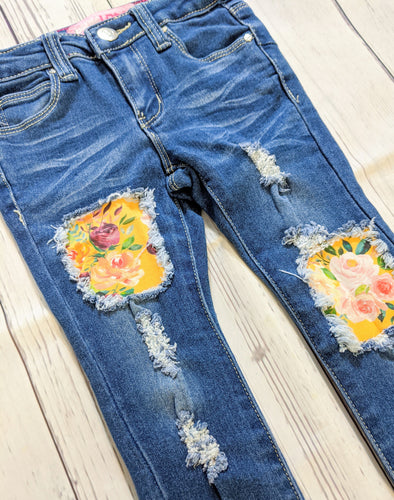 Mustard Floral Jeans