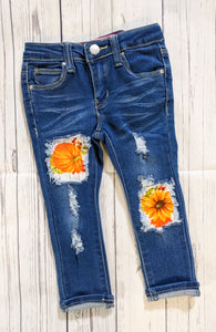 Vibrant Orange Pumpkins Jeans