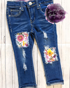 Plum & Mustard Fall Floral Jeans