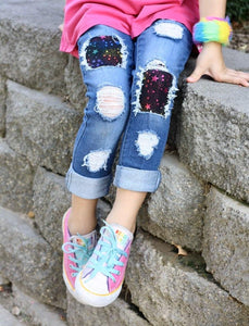 Black Rainbow Star Patch Jeans
