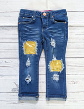Load image into Gallery viewer, Gold Glitter Jeans