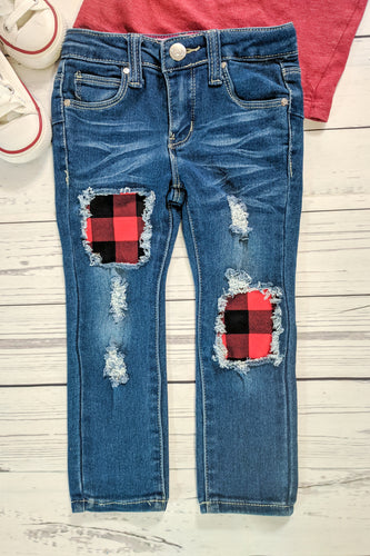 Buffalo Plaid Patched Jeans