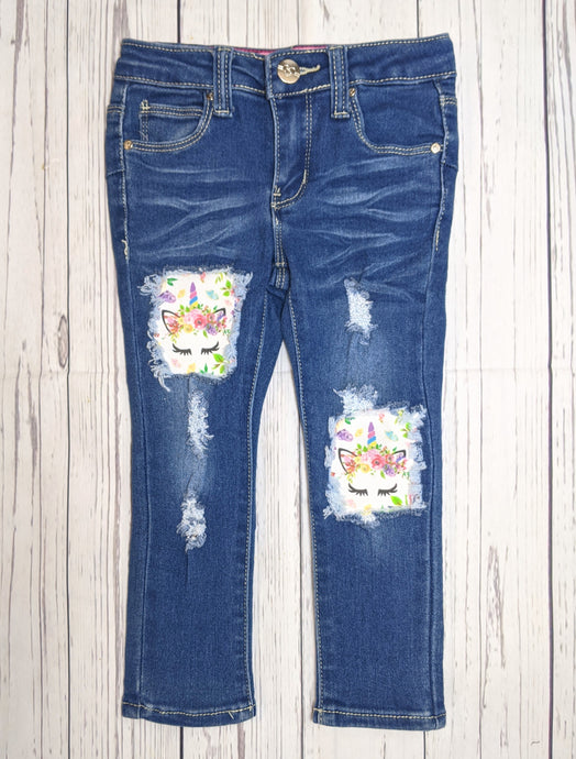 Floral Unicorn Patch Jeans