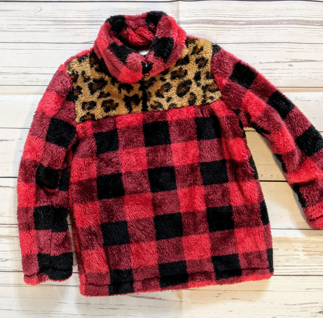 Red/Black Plaid Size Y6 Fleece half zip up Jacket