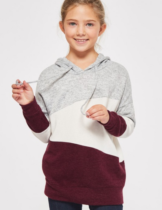 Maroon/Gray Color Block Sweatshirt