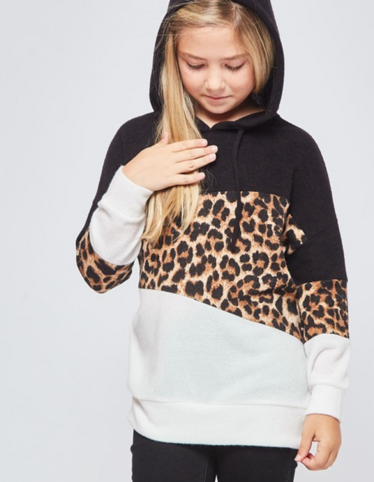 Black/Leopard Color Block Sweatshirt
