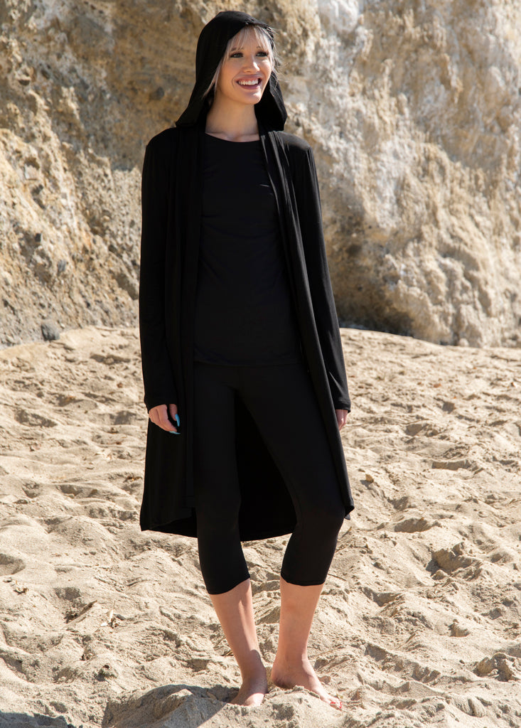 Hooded Bamboo Duster with Long Sleeves