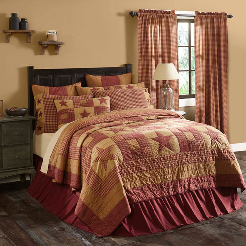 Ninepatch Star Luxury King Quilt 120Wx105L - Woodrol