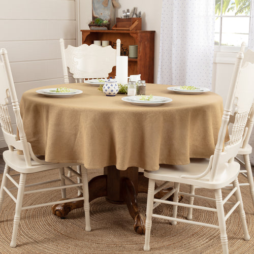 Burlap Natural Table Cloth 70 Round - Woodrol