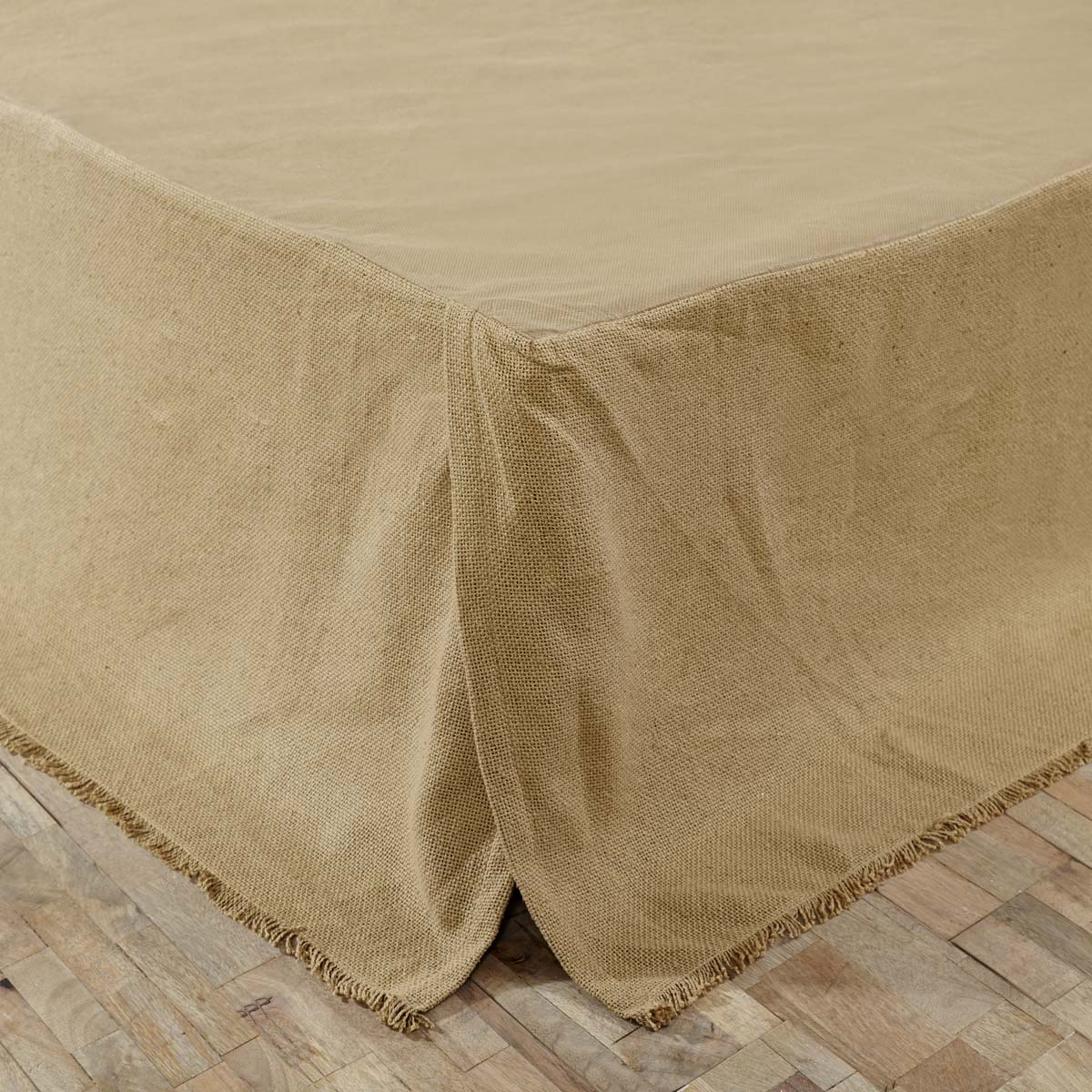 Burlap Natural Fringed Queen Bed Skirt 60x80x16 - Woodrol