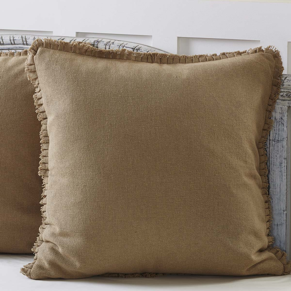 Burlap Natural Fabric Euro Sham w- Fringed Ruffle 26x26 - Woodrol