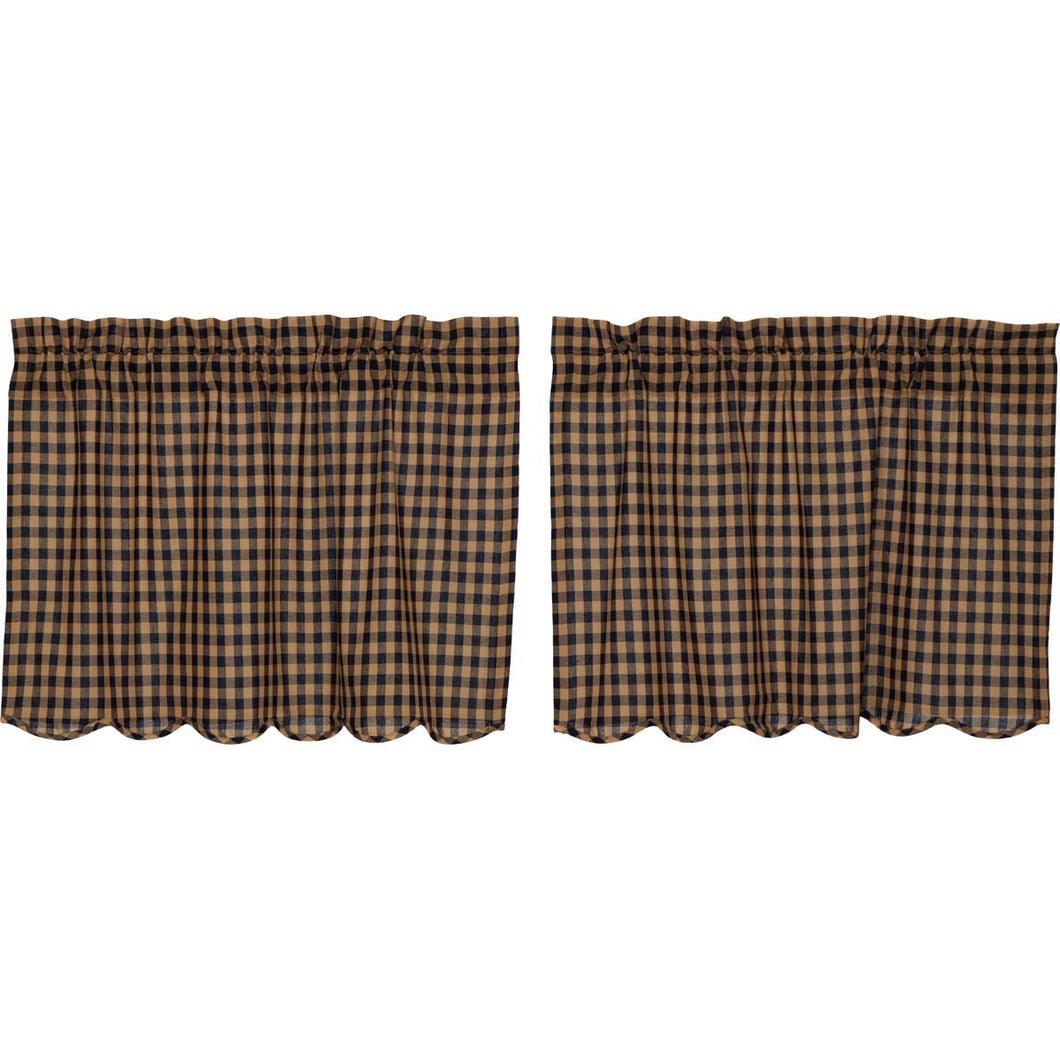 Navy Check Scalloped Tier Set of 2 L24xW36 - Woodrol