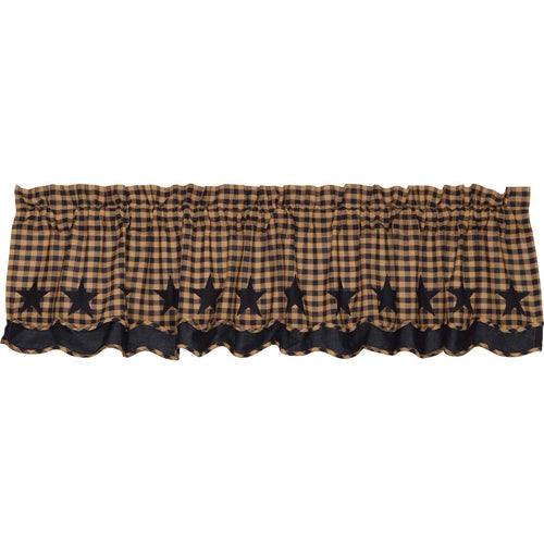 Navy Star Scalloped Layered Valance 16x72 - Woodrol