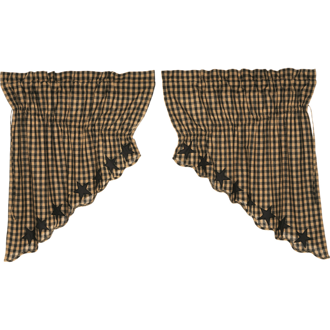 Black Star Scalloped Prairie Swag Set of 2 36x36x18 - Woodrol