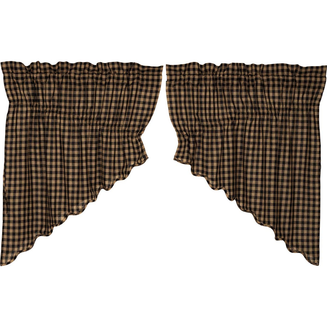 Black Check Scalloped Prairie Swag Set of 2 36x36x18 - Woodrol