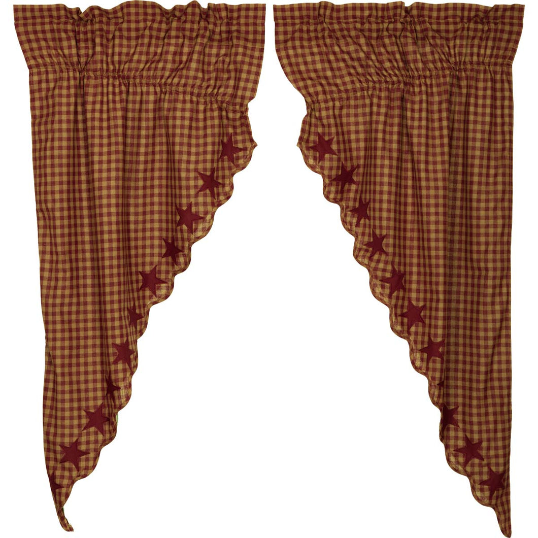 Burgundy Star Scalloped Prairie Short Panel Curtain Set of 2 63x36x18 - Woodrol