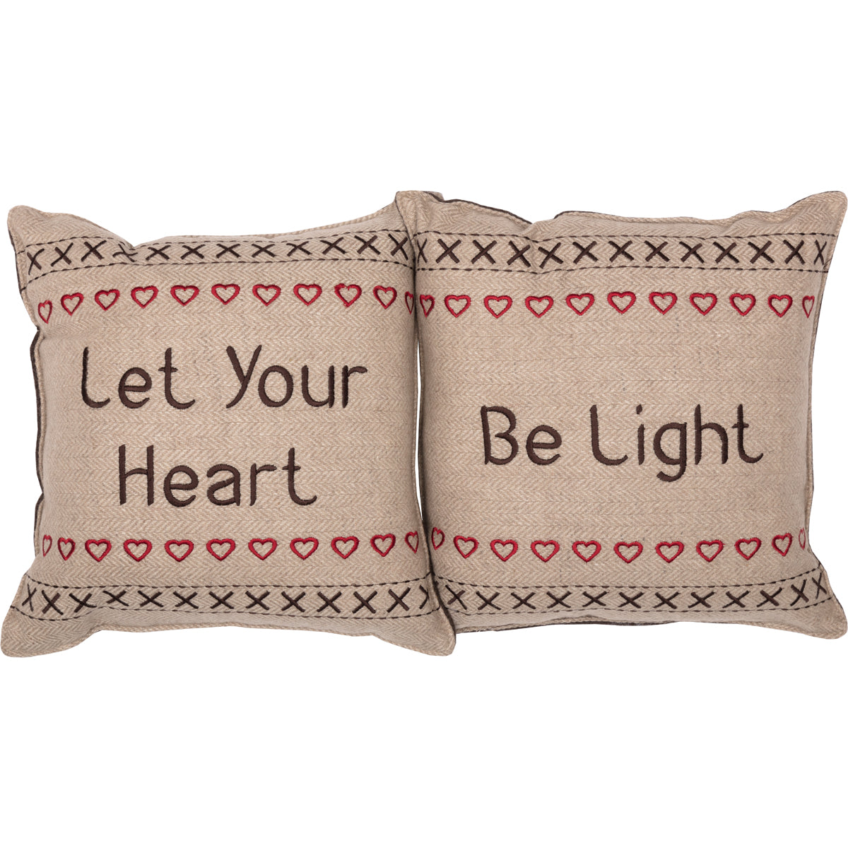 Merry Little Christmas Pillow Let Your Heart Set of 2 12x12 - Woodrol